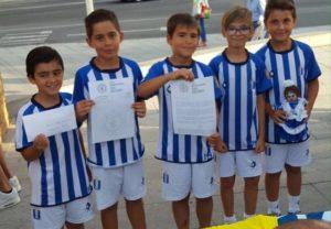 Jóvenes recreativistas del benjamín B de la Fundación Recre: Alberto, Sebi, Alejandro, Jesús y Ezequiel.