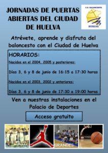 Cartel de la jornada de puertas abiertas del Cd Huelva Baloncesto.