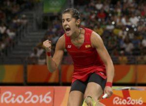 Carolina Marín celebrando el triunfo y el pase a la final en las Olimpiadas de Río.