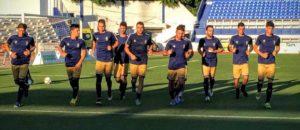 Calentamiento de los jugadores del Recreativo en Marbella.
