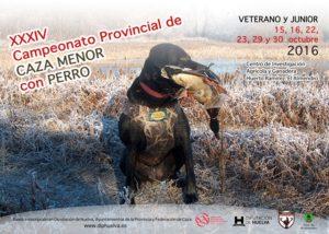 Cartel del concurso de caza menor con perro.