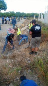 Voluntarios desentierran la colonia de gatos sepultada en Corrales. (Foto: Apac Huelva)