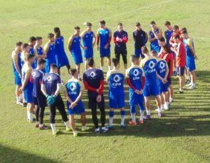Entrenamiento del Recreativo de Huelva con Juanma Pavón al mando.