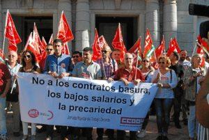 protesta UGT y CCOO por un trabajo decente