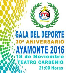 Cartel de la XXX Gala del Deporte en Ayamonte.