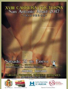 Cartel de la Carrera Nocturna 'San Antonio Abad' en Trigueros.