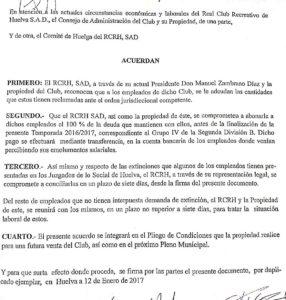 Anexo de la desconvocatoria de huelga de los empleados del Recreativo de Huelva.