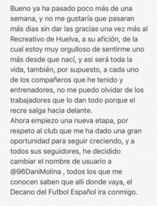 Carta de Dani Molina al recreativismo.