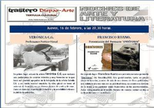 CARTEL EVENTO JUEVES 16 TERTULIA TRASTERO DISPAR ARTE