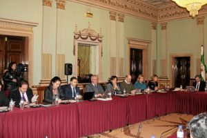 Grupo municipal del PP en el pleno de febrero en Huelva