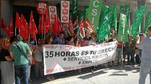 Protesta de los sindicatos en Huelva por las 35 horas