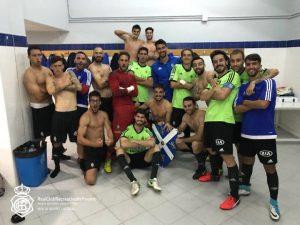 Jugadores del Recreativo celebrando la victoria en San Fernando.