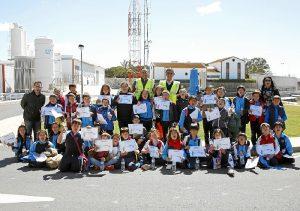 Alumnos del colegio Maristas Colón de Huelva en la ETAP El Conquero.