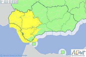 Mapa avisos de la Aemet para el miércoles 28 de febrero.