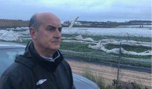 Alcalde de Lepe junto a una zona afectada por los fuertes vientos
