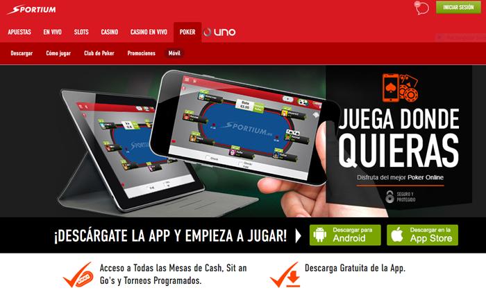App de descarga para póker del casino online Sportium.