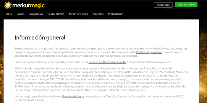 Términos y condiciones del casino online Merkurmagic.