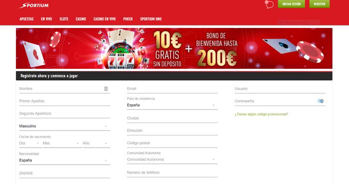 Página de bonos y registro del casino online Sportium.