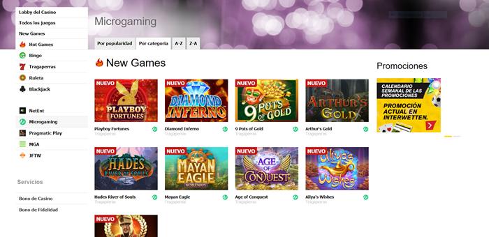 Juegos de Microgaming en el casino online Interwetten.